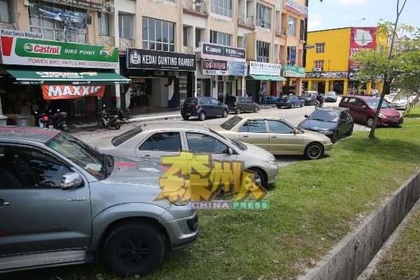 泊车位不足,一些商家及顾客把车辆停泊在店前的草地处。