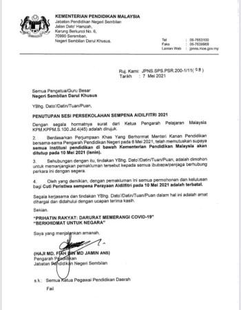 森州教育局发出正式公函通知,基于所有教育机构被指示关闭,5月10日批准的假期随着取消。